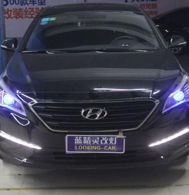 上海现代索塔纳9改车灯蓝定制透镜飞利浦氙气大灯加蓝色恶魔眼