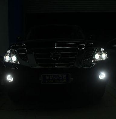 上海尼桑途乐车灯改装蓝定制透镜欧司朗氙气大灯
