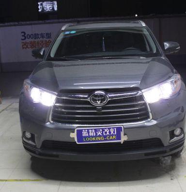 丰田汉兰达车灯改装海拉5透镜海拉氙气大灯