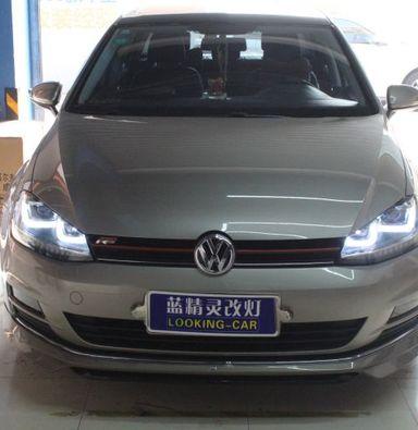 上海高尔夫7低配改装高配氙气灯升级双U大灯总成
