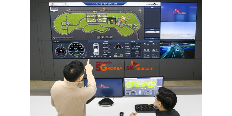 "SK Telecom and the Korea Transportation Safety Authority have built 5G infrastructure in the main experimental zone of ""K-City,"" an autonomous driving test city."