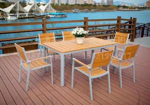 J06-101(1+6塑木桌椅)