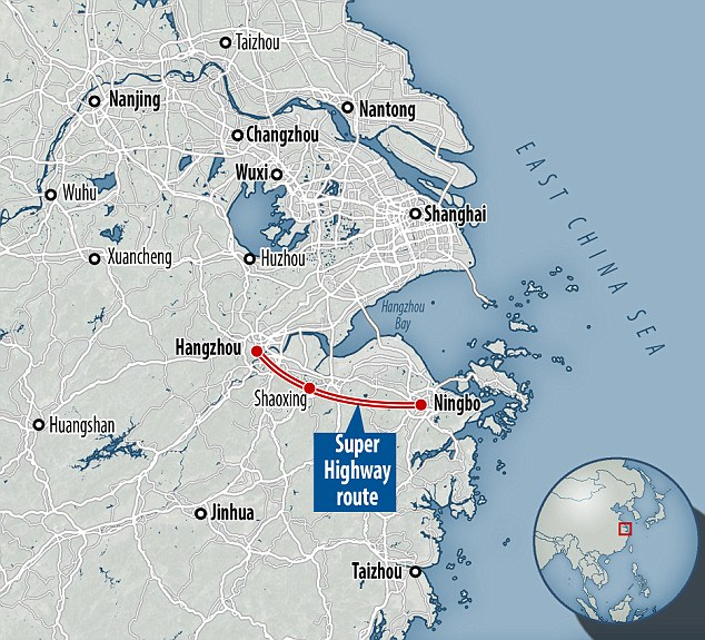 The 100-mile motorway will cost £2bn and is due to link Hangzhou and Ningbo via Shaoxing