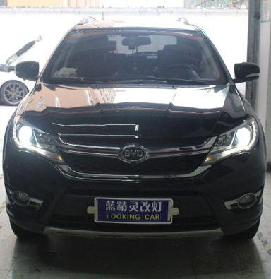 上海比亚迪S7车灯改装氙明双光透镜飞利浦WHV+氙气大灯