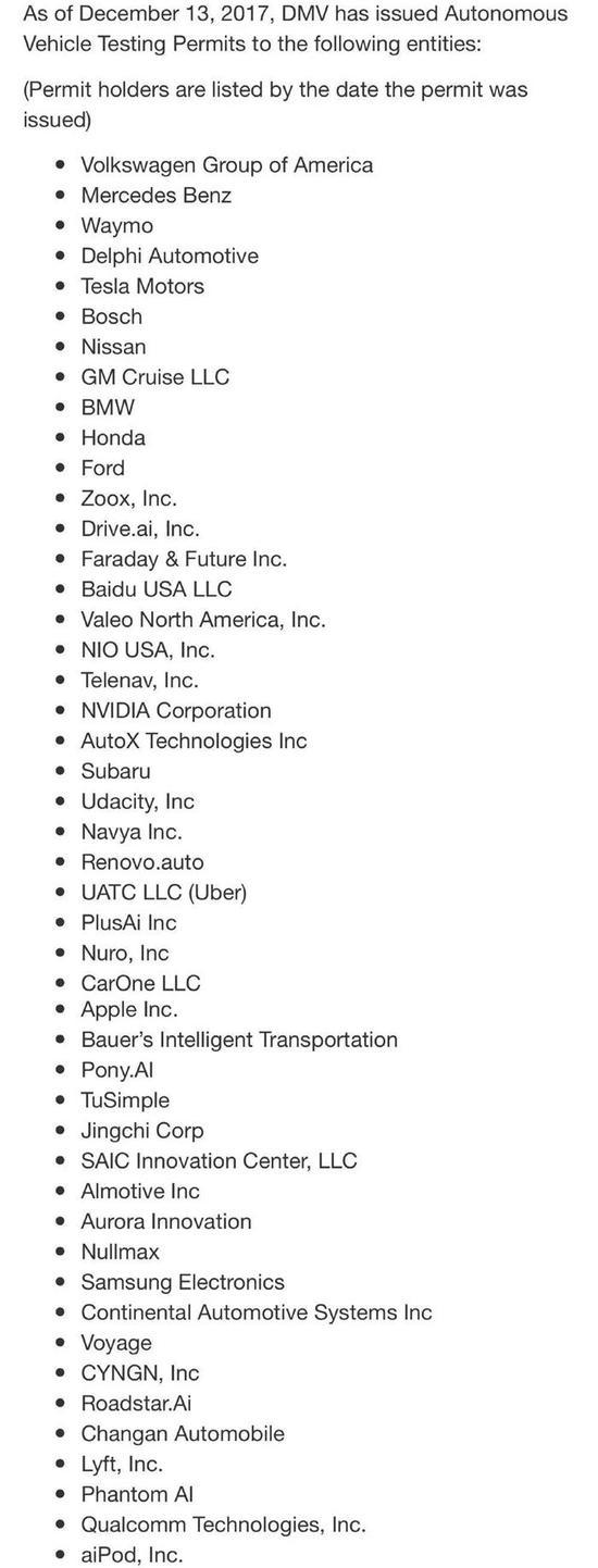 已经获得加州自动驾驶测试许可牌照的企业,截止至2017年12月