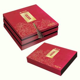紅色復古月餅禮盒雙層盒定制