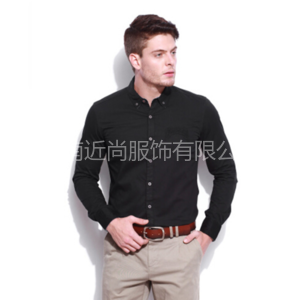 扣子领时尚黑色商务衬