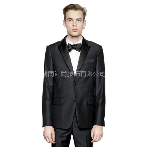 黑色传统绅士绸缎领拼