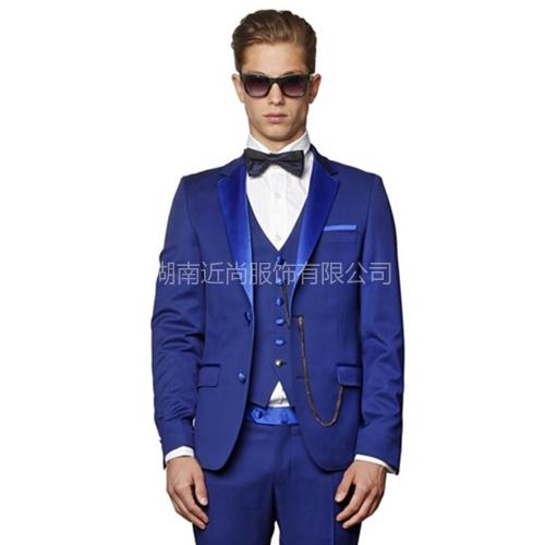 蓝色毛料结婚套装  
