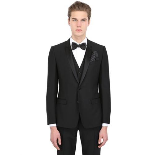经典黑色毛料结婚套装