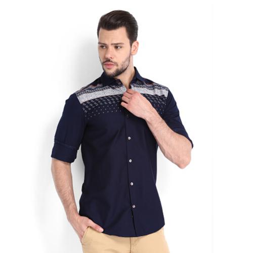 时尚拼接纯棉衬衫