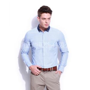 时尚异色领蓝纯棉衬衫