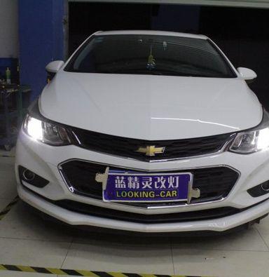 上海雪佛兰科鲁兹改车灯蓝定制双光透镜氙气大灯