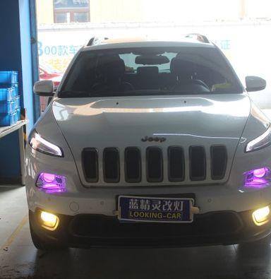 jeep自由光疝气灯改装上海蓝精灵飞利浦氙气大灯加紫色恶魔眼