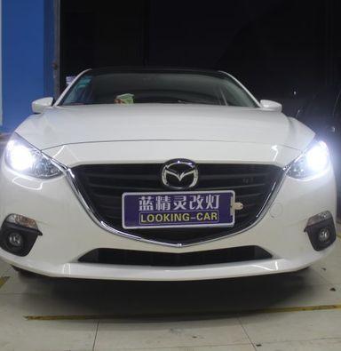 昂克赛拉LED车灯改装上海蓝精灵改海拉5双光透镜加白色天使眼