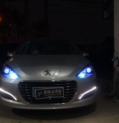 上海标致308透镜改装欧司朗氙气大灯加蓝色LED恶魔眼