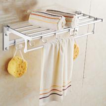 迪斯里克DISILIKE 太空铝多功能浴巾架 折叠式毛巾架置物架 浴室挂件 可打孔可免打孔安装 配免打孔无痕钉+打孔膨胀螺丝