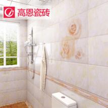 高恩 廚房衛生間瓷磚 時尚玫瑰花廚衛磚 300600廚衛墻磚地板磚防滑瓷片建材