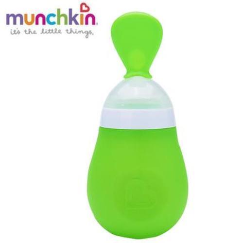 滿趣健新款易擠壓嬰兒喂養勺-綠色 15807 四個裝