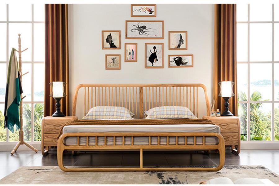 新中式實木床現代簡約北歐雙人床