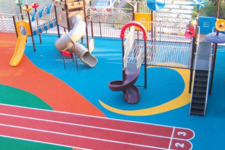 彩色彈性塑膠地面施工方案