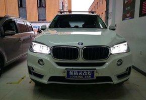 宝马X5天使眼氙气灯改装远光灯立盯OLED车灯双光透镜模组(免开灯)