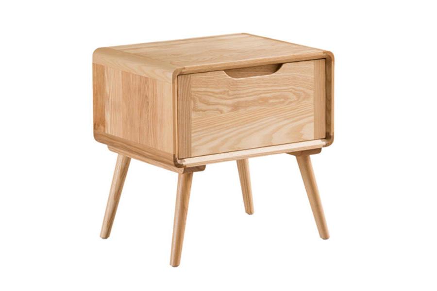 北歐床頭柜全實木簡約白蠟木床邊柜