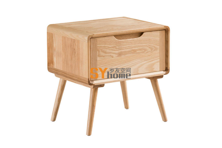 北欧床头柜全实木简约白蜡木床边柜