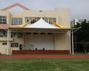 海南海口白驹学校体育看台膜结构工程
