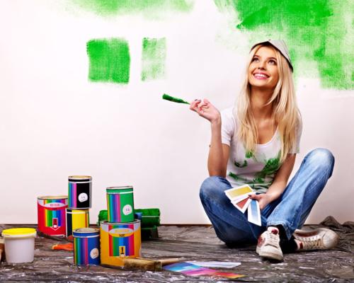 油漆工施工现场