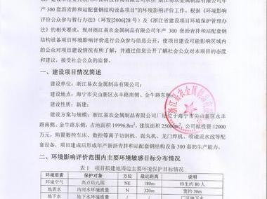 浙江易农金属制品有限公司公示