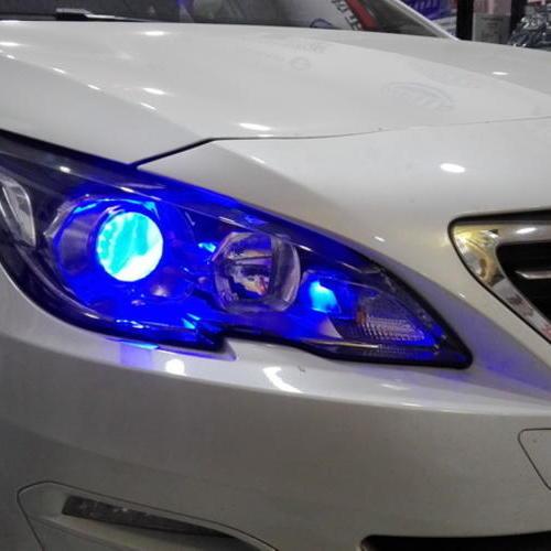 标致408改装LED恶魔眼氙气大灯