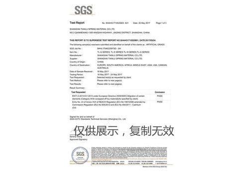 人造草坪SGS报告