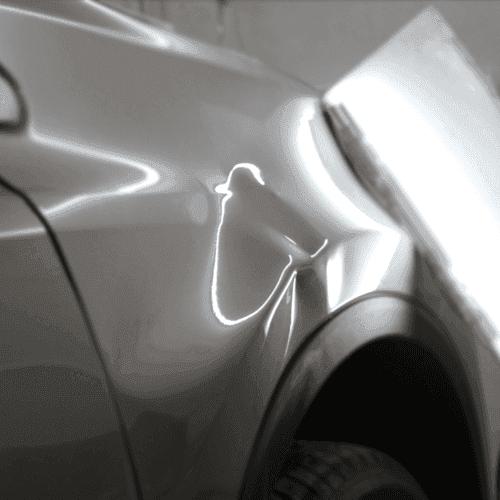 一汽丰田RAV4前叶子板严重汽车凹陷修复