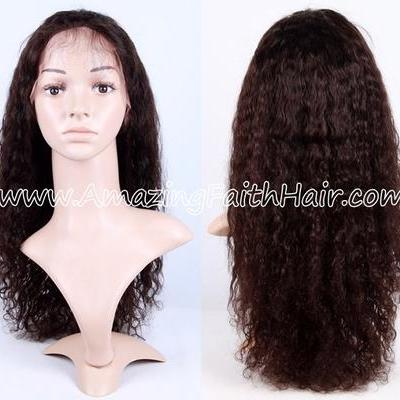 Full Lace Wig Brown Natural Curly
