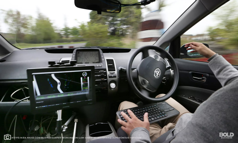 Picture of Autonomous vehicles with driver having no hands on wheel