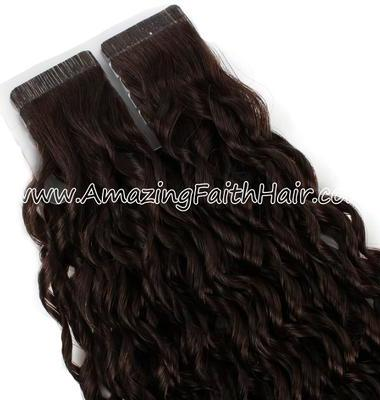 Tape-Ins Brown Color Curly