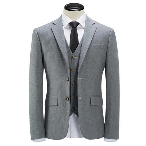 时尚灰色精做修身量体商务版西装