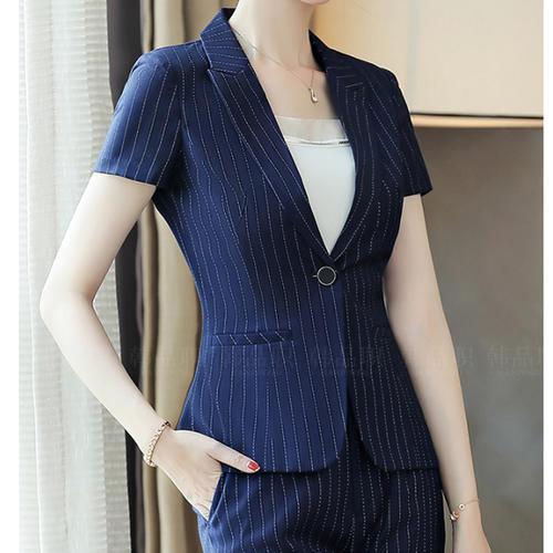 條紋西裝外套女短袖職業裝套裝