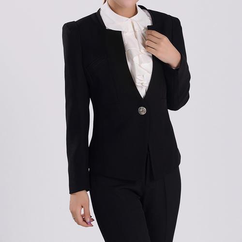 时尚都市无领款修身一粒扣西装