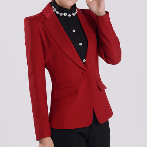 时尚大翻领修身显瘦酒红色西装