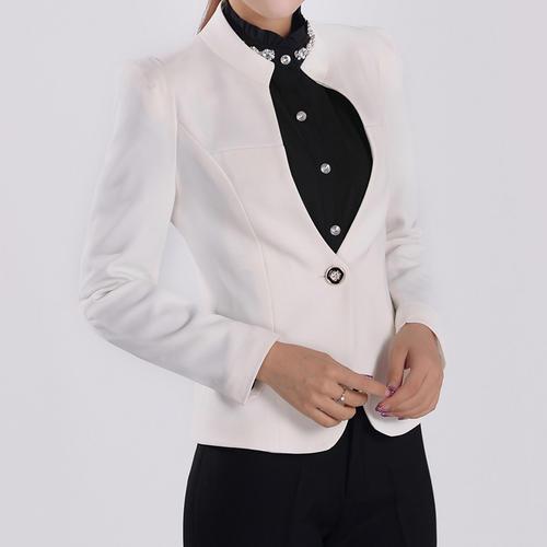 白色立领修身干练女白领西装