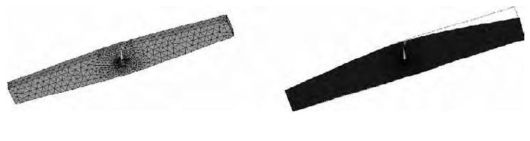 图10 优化后剪叉机构的有限元模型、变形图
