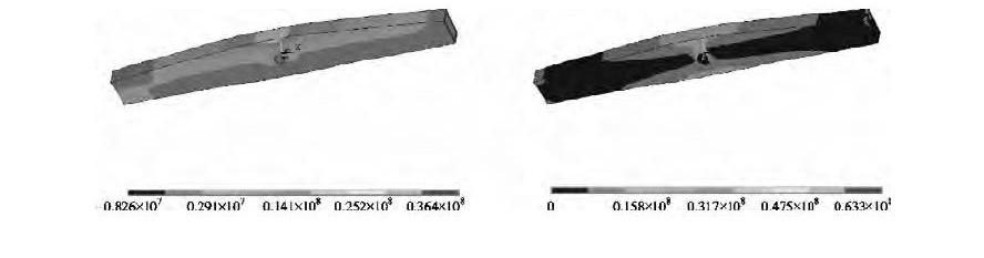 图11 优化后第一主应力分布云图、等效应力分布云图