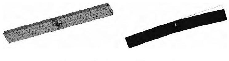 图4 剪叉机构有限元模型、变形图