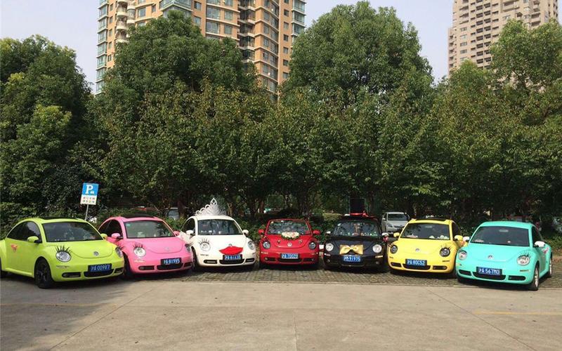 彩色婚车车队-大众甲壳虫婚车