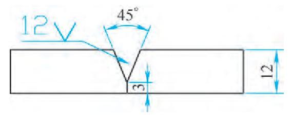 图3 焊缝形式1:3mm钝边、45°坡口、0mm间隙、背面陶瓷衬垫保护