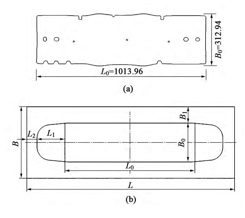图5 零件与坯料展开图