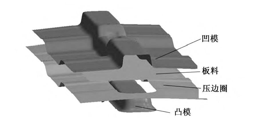 图4 地板梁拉延模仿真模型