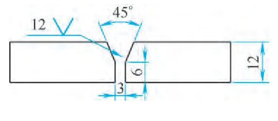 图5 焊缝形式3:6mm钝边、45°坡口、3mm间隙、背面陶瓷衬垫保护